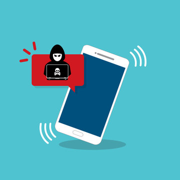 Malware notification on mobile phone. Smartphone with alert, spam data on cellphone fraud error message, scam, virus. Flat vector illustration.