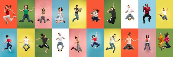 Collage of portraits of 11 young jumping people on multicolored background in motion and action....
