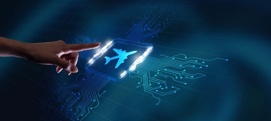 Business, Technology, Internet and network concept. Travel transportation concept with planes. Fotobehang