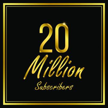 Twenty or 20 Million followers or subscribers achievement symbol design, vector illustration.