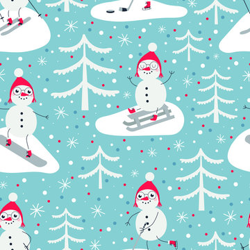 Seamless pattern with snowmen by sport. Snowman on skateboard, snowman ice hockey player, snowman ice skating and snowman skiing.