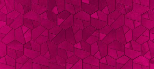 Abstract colored magenta pink dark seamless geometric hexagonal hexagon mosaic cement stone...