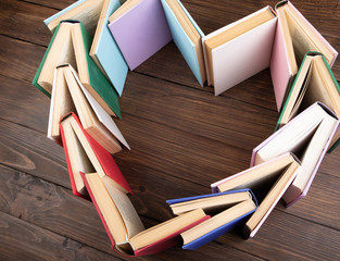 Heart shape stacked of books - love to wisdom, science and education concept