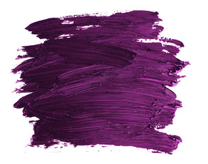 sample of purple thick paint with streaks from a brush, texture isolated