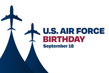 U.S. Air Force Birthday. September 18. Holiday concept. Template for background, banner, card, poster with text inscription. Vector EPS10 illustration.
