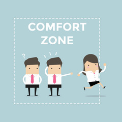 Businesswoman exit from comfort zone. vector