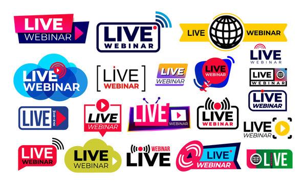 Big set of live webinar colored button, icon, emblem label. Simple element illustration concept. Vector illustration. Isolated on white background.