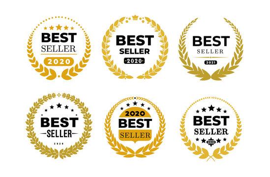 Set of awords Best Seller badge logo design. Golden Best Seller vector illustration. Isolated on white background.