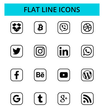 Set of popular social media and other icons: Facebook, Twitter, Instagram, LinkedIn, Dropbox, Youtube and others