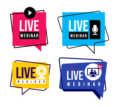 Set of live webinar colored button, icon, emblem label. Simple element illustration concept. Vector illustration. Isolated on white background.