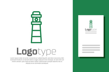 Green line Lighthouse icon isolated on white background. Logo design template element. Vector.