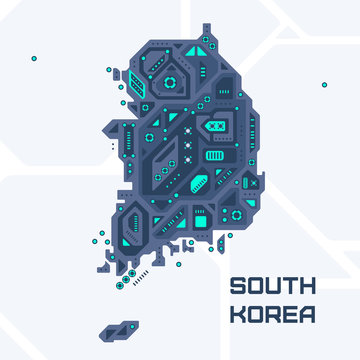 Abstract futuristic map of South Korea. Mechanical circuit of the country. Technology space background.