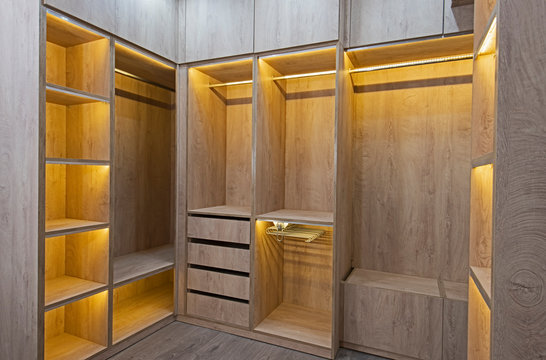 Interior design of bedroom closet in house