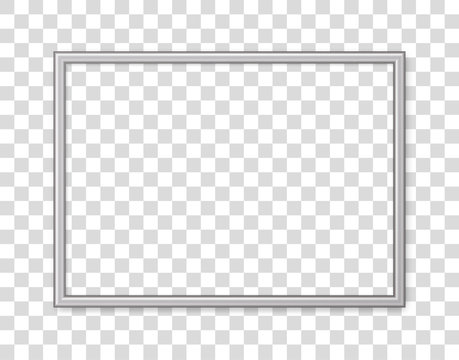 3D frame. Picture frame isolated on background. Realistic modern border rectangular frame with shadow. Horizontal boarder. Design picture, presentation, mockup, photo, poster, restaurant menu. Vector