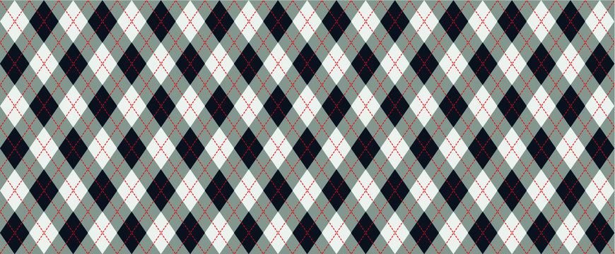 Black, red Harlequin Scottish Argyle style. Diamond pattern. Retro argyle pattern Checkered texture from rhombus, squares Flat tartan checker Vector gingham and bluffalo check line Christmas, xmass