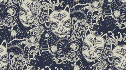 Wall Murals Pattern Monochrome pattern with a Kitsune mask on the Japanese theme. All colors are in a separate group. Ideal for printing onto fabric and decoration