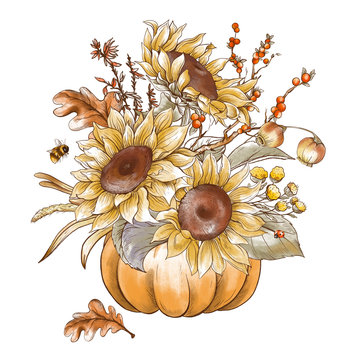 Vintage fall sunflowers, pumpkin greeting card. Thanksgiving harvest