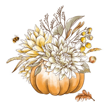 Vintage fall chrysanthemums, pumpkin greeting card