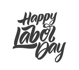 Vector Handwritten calligraphic brush type lettering composition of Happy Labor Day on white background