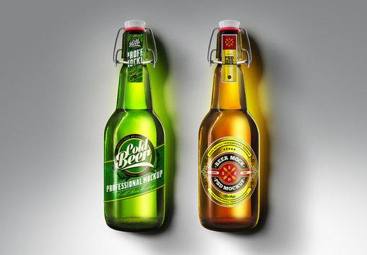 Brown and Green Beer Bottle Mockup