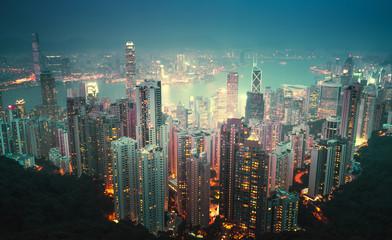 Fototapete - Hong kong from the Victoria peak