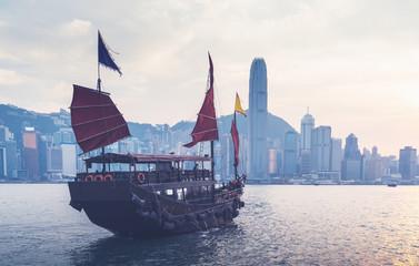 Fotomurales - Hong Kong harbour in sunset time