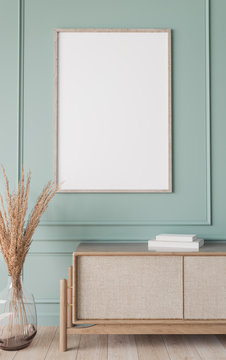 Mockup frame in farmhouse living room interior, vertical wooden frame on classic blue wall background, 3d render