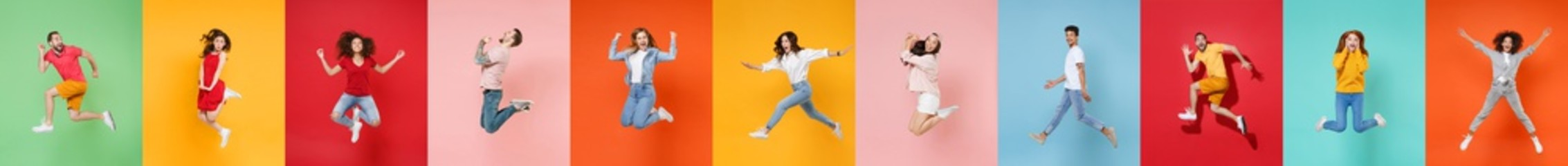 Photo set collage of eleven multiethnic expressive happy young people group wearing t-shirts having fun, jumping or flying up in air different poses isolated on colorful background, studio portraits.