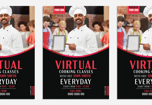 Virtual Cooking Classes Poster Layout