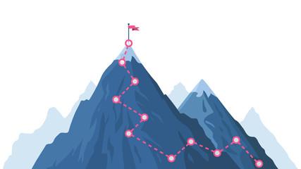 Fototapeta Mountain progression path. Climbing progress route, mountain peak overcoming, mountain climbing path with red flag on top vector illustration. Way path infographic, progress way to peak obraz