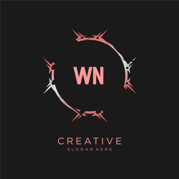 WN initial logo With Colorful template vector.