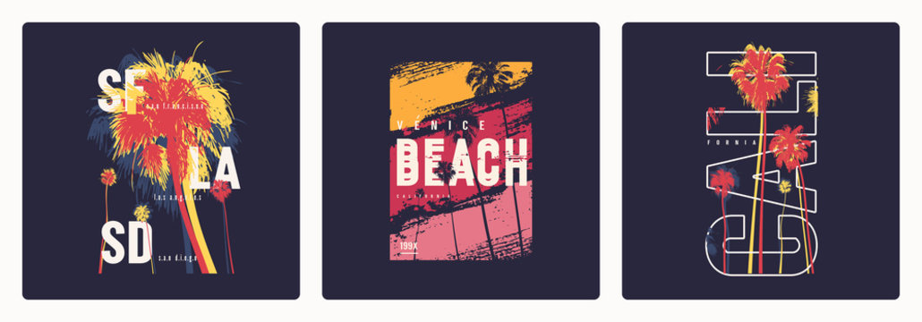 Collection of three vector graphic t-shirt designs, posters, prints on the theme of California