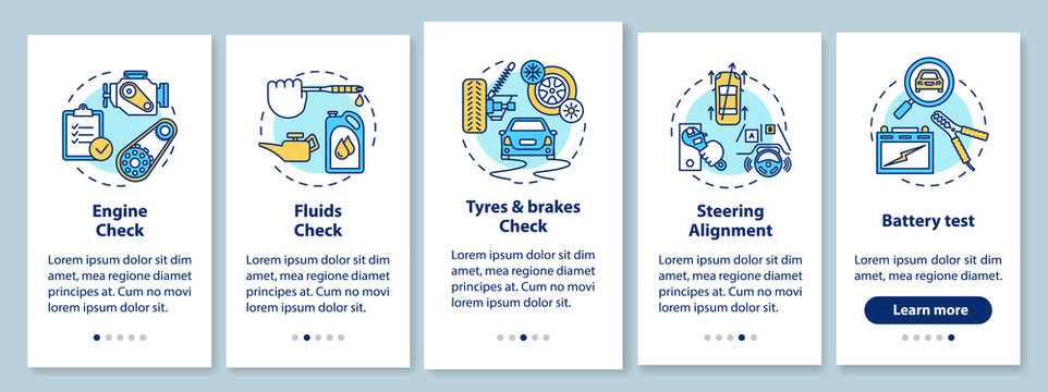 Full car service onboarding mobile app page screen with concepts. Engine check, alignment, battery test walkthrough 5 steps graphic instructions. UI vector template with RGB color illustrations