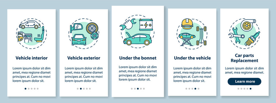 Car service types onboarding mobile app page screen with concepts. All-out vehicle test, parts replacement walkthrough 5 steps graphic instructions. UI vector template with RGB color illustrations