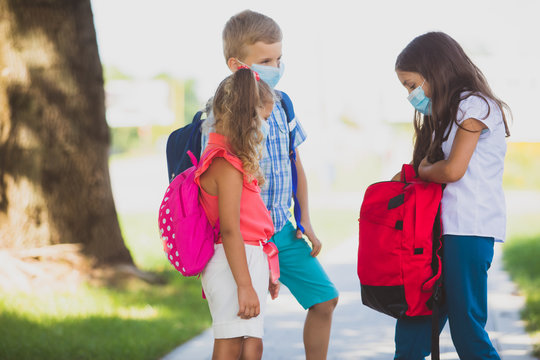 The kids happily communicate when they return to school