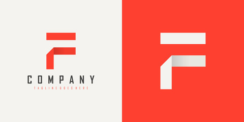 Initial Letter F Logo. Red and White Geometric Shape Origami Style isolated on Double Background. Usable for Business and Branding Logos. Flat Vector Logo Design Template Element