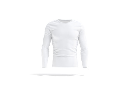 Blank white longsleeve t-shirt mockup, front view