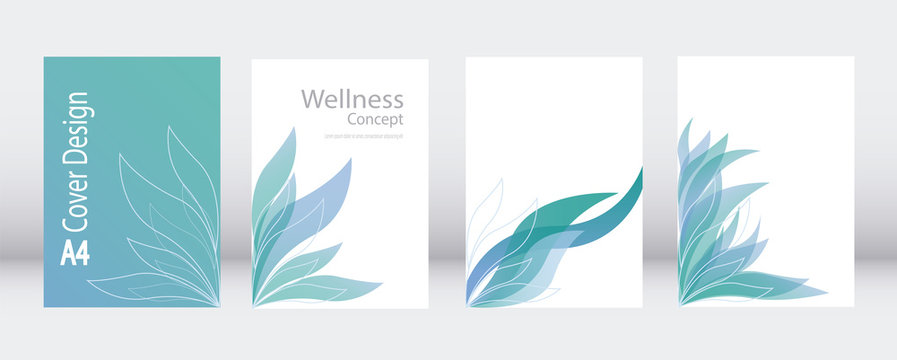 A4 abstract leaves template vector. Elegant set for business brochure report. Corporate presentation layout.