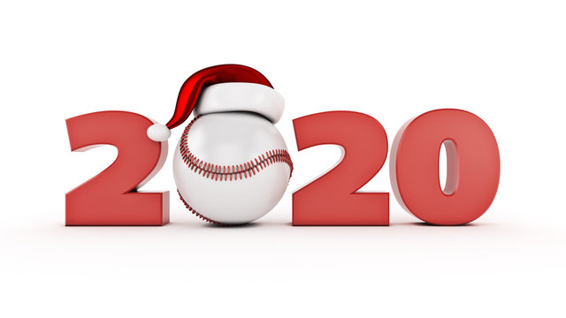 Christmas 2020 concept. Baseball ball. 3d rendering