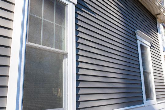 Vinyl siding and window treatments, real estate bg