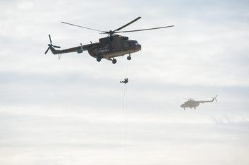 Printed roller blinds Helicopter Military helicopter flying during exercise