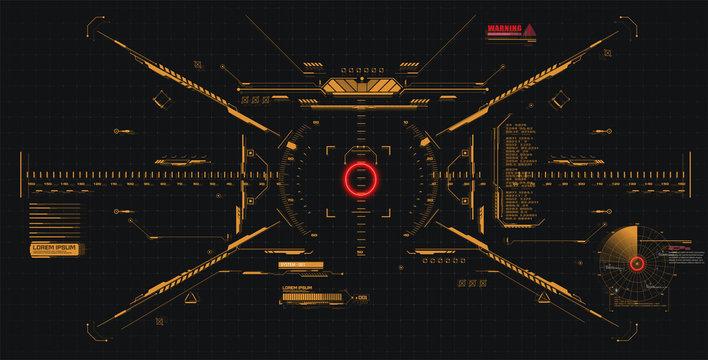 Modern illustration for game background design Futuristic HUD, GUI interface screen design. Virtual reality. Futuristic VR Head-up Display Design. Sci-Fi Helmet HUD. Future Technology. Hi tech design