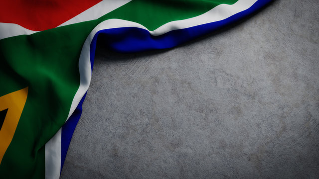 Flag of South Africa on concrete backdrop. South African flag background with copy space