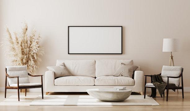 Blank picture frame mock up in beige room interior , 3d rendering