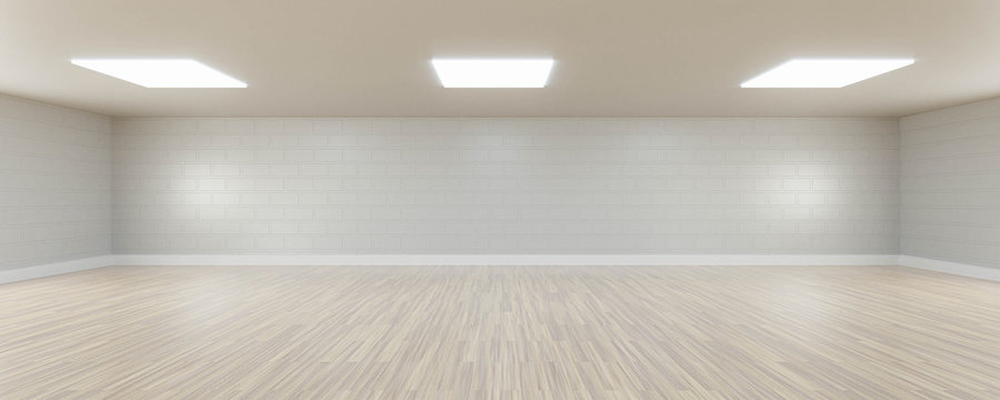 Empty white wall and wooden floor copy space background 3d render illustration