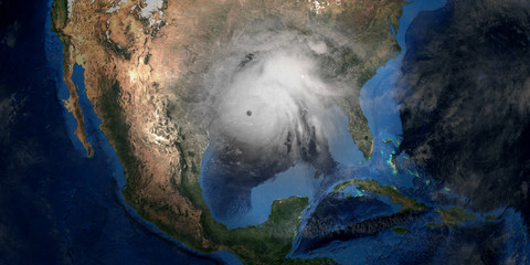 Hurricane Laura making Landfall in USA. Shot from Space. Elements of this 3D rendering are furnished by NASA. Fotomurales