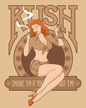 Retro cannabis marijuana kush pinup girl design. Sepia tone vector illustration of beautiful woman smoking pipe with marijuana leaves and kush letters.