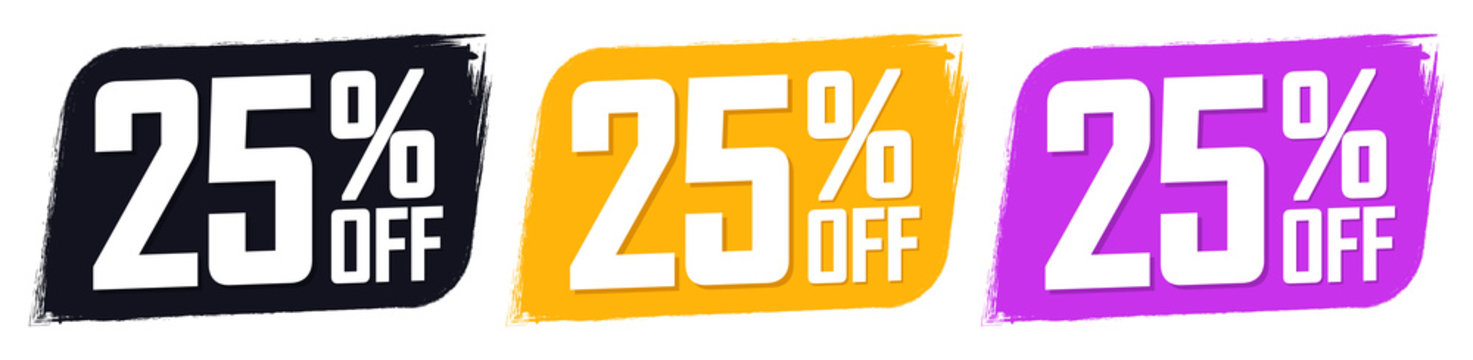 Set Sale 25% off banners, discount tags design template, extra promo, brush grunge, vector illustration