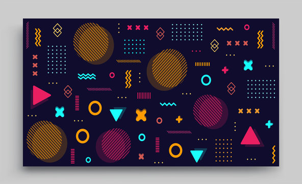 Memphis design elements halftone and geometric shapes patterns trend, design and vintage geometric print illustration element.