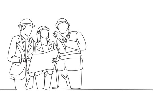 Single continuous line drawing of young architect discussing construction design with foreman manager. Building architecture business concept. One line draw design vector graphic illustration